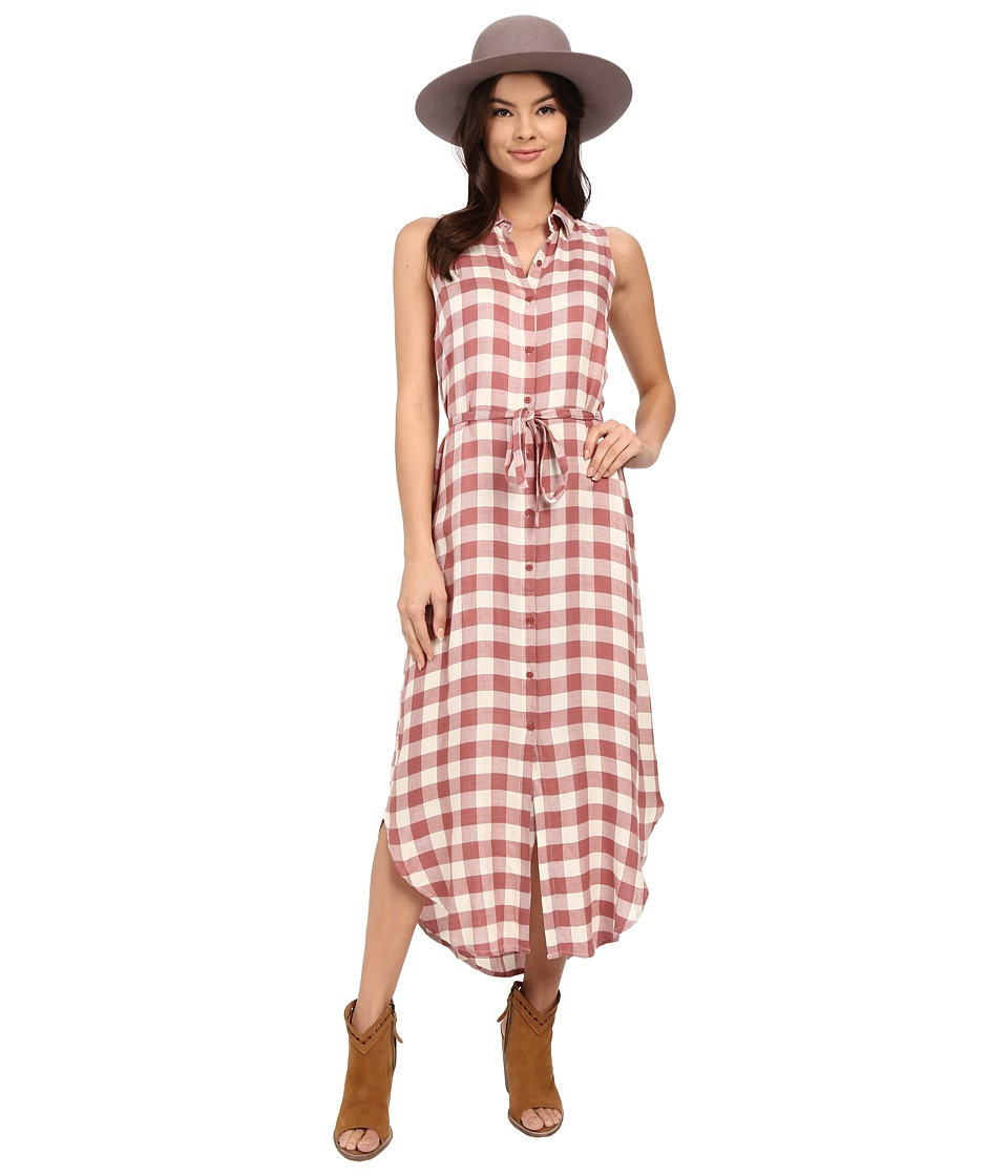 BB Dakota - Lance Rayon Buffalo Plaid Button Front Maxi Dress (Tea Rose) Women's Dress