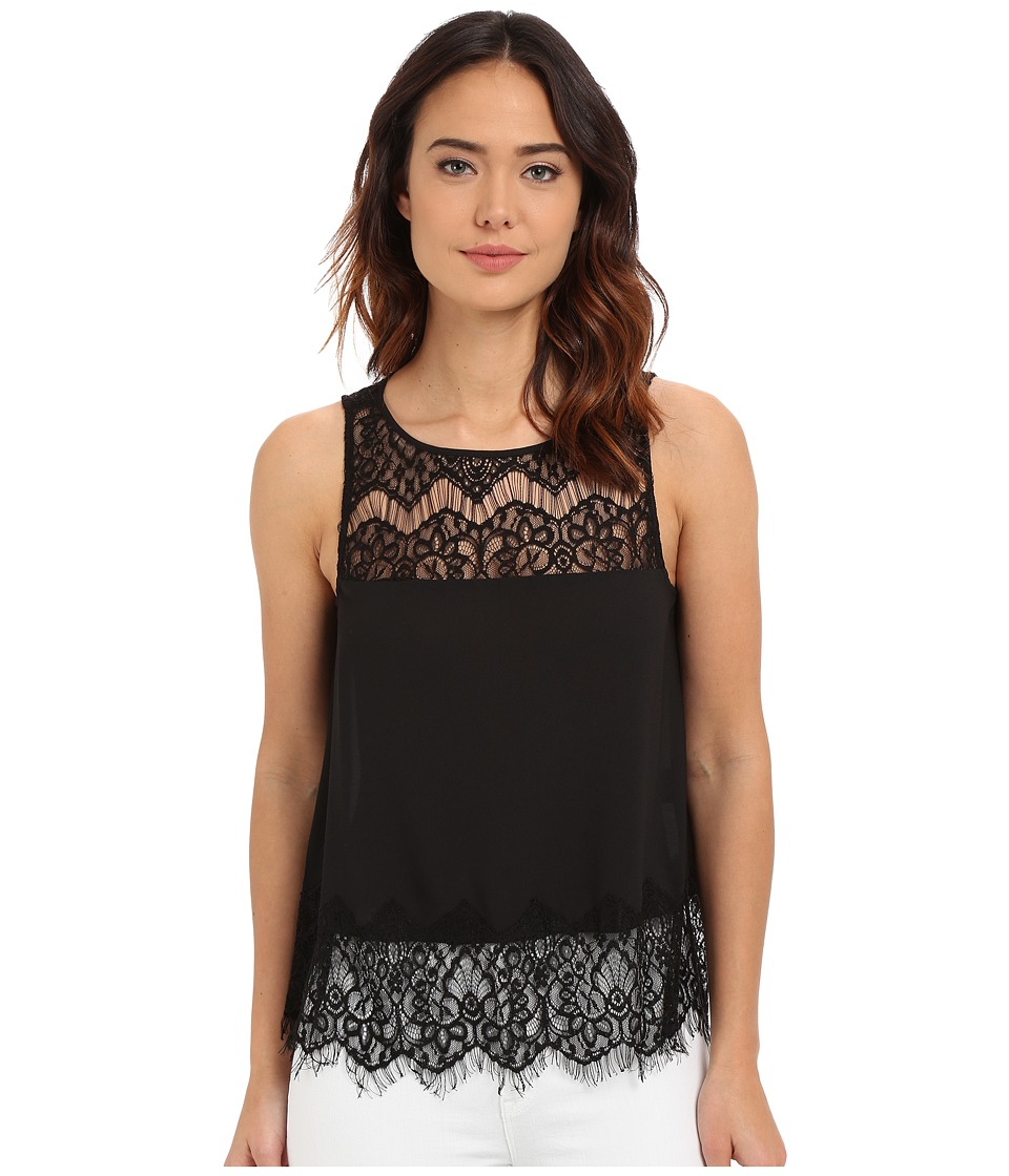 BB Dakota - Eunice Crepe De Chine Lace Top (Black) Women's Blouse