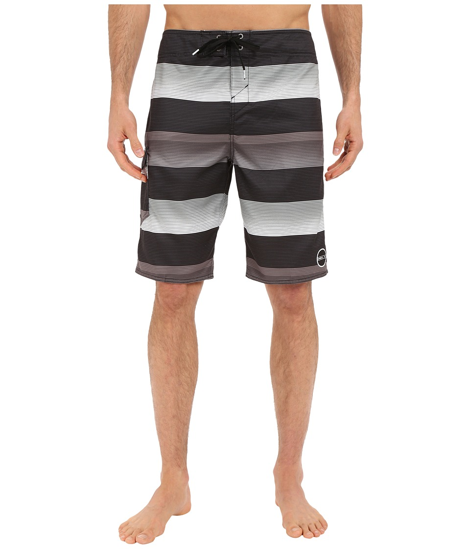 O'Neill - Santa Cruz Stripe Boardshorts (Black) Men's Swimwear