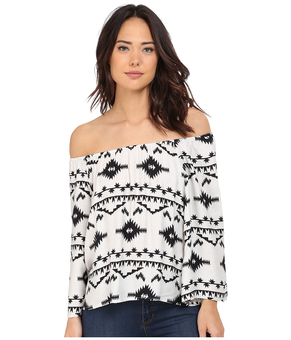 BB Dakota - Marley Symbol Printed Rayon Off The Shoulder Top (Oatmeal) Women's Clothing