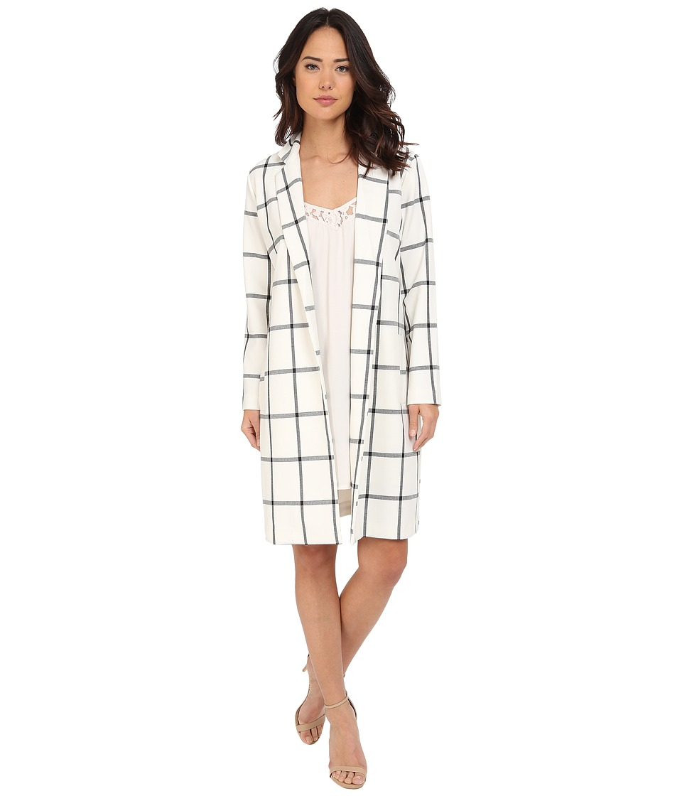 BB Dakota - Bronson Plaid Blazer Coat (Dirty White) Women's Coat
