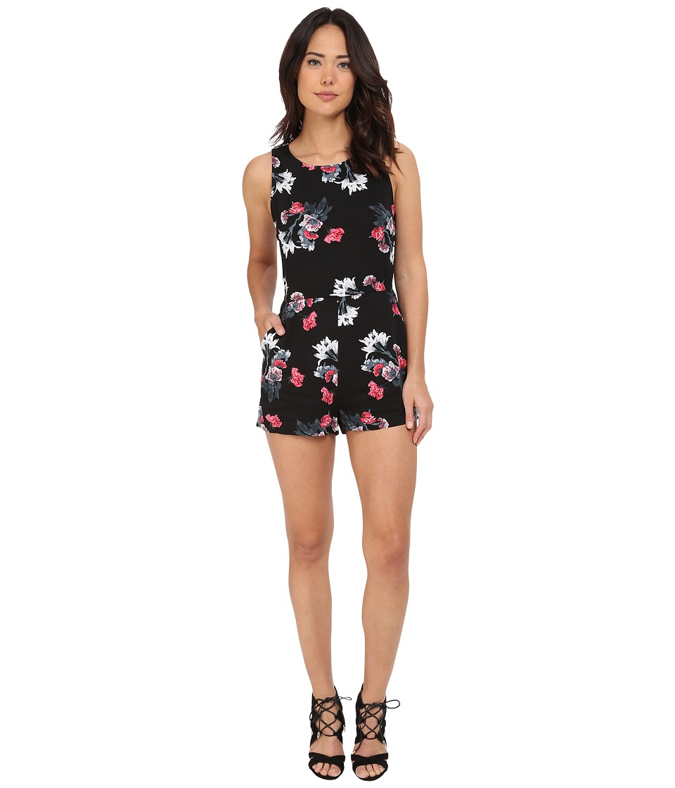BB Dakota - Aniston Rose Garden Printed Heavy Rayon Romper (Black) Women's Jumpsuit & Rompers One Piece