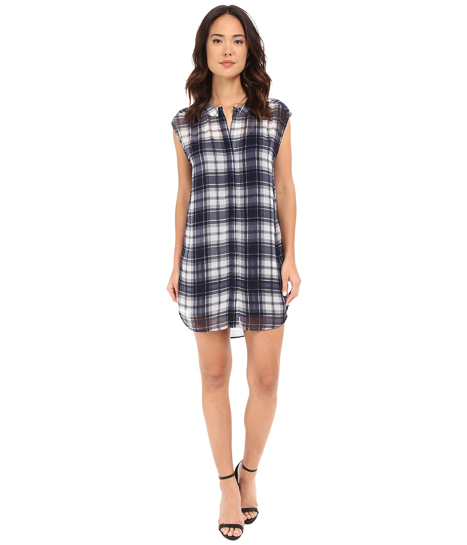 BB Dakota - Nelson Plaid Chiffon Shirt Dress with Slip (Navy) Women's Dress