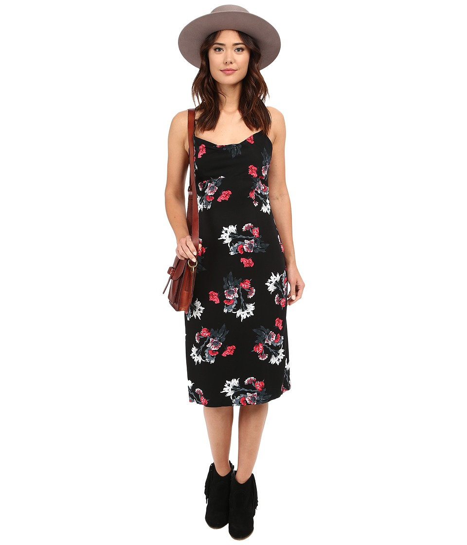 BB Dakota - Miriam Rose Garden Printed Heavy Rayon Dress (Black) Women's Dress