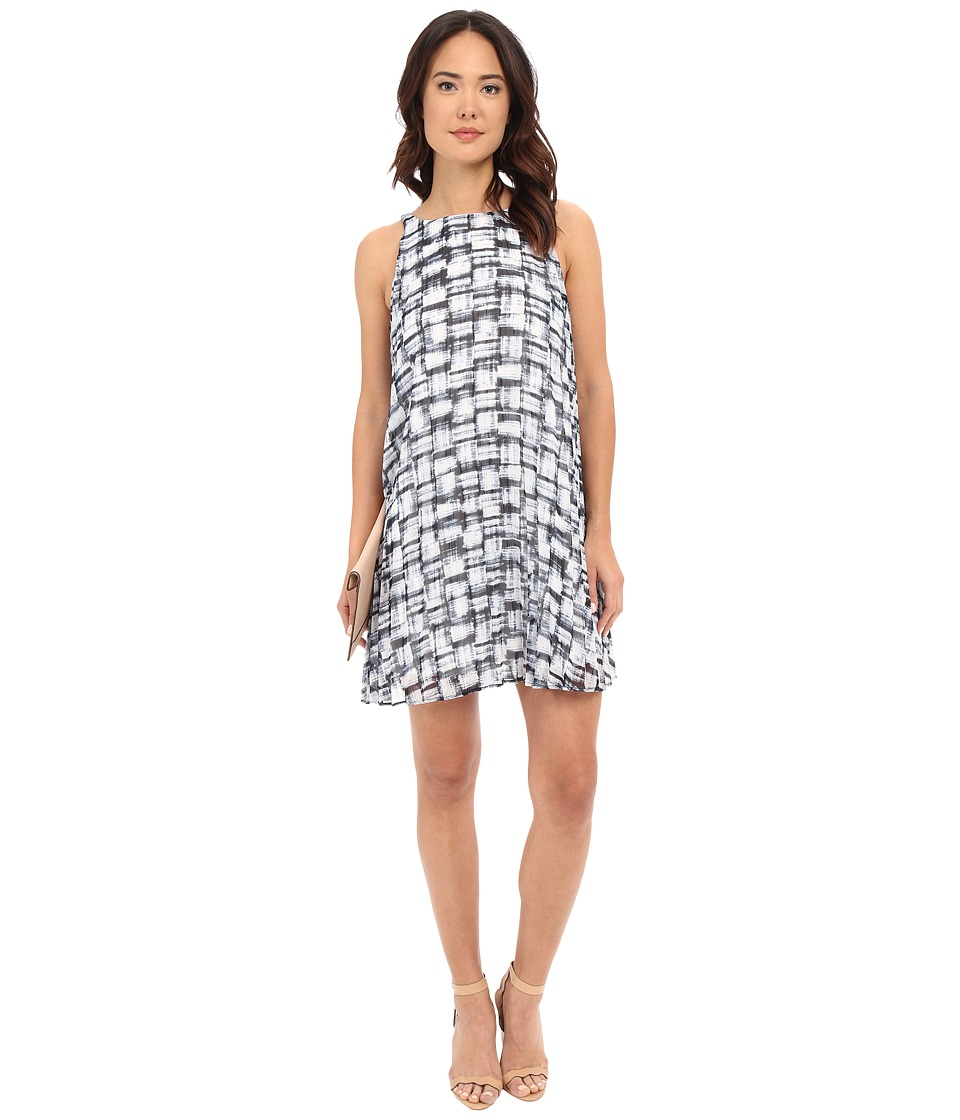 BB Dakota Leah Plaid Printed Chiffon Pleated Dress (Blue Multi) Women