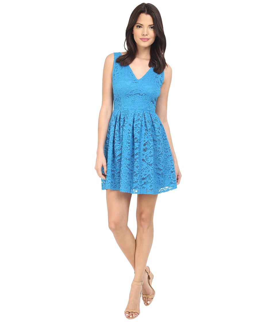 BB Dakota Kerry Lace V-Neck Dress (Sea Blue) Women