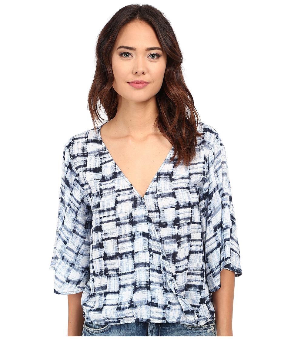 BB Dakota - David Plaid Printed Rayon Twill Crossover Top (Multi Blue) Women's Blouse