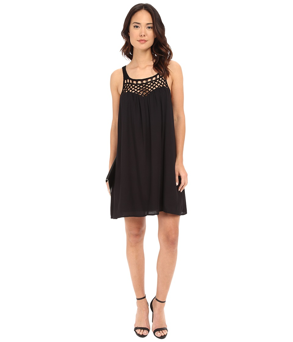 BB Dakota - May Crochet Yoke Rayon Dress (Black) Women's Dress