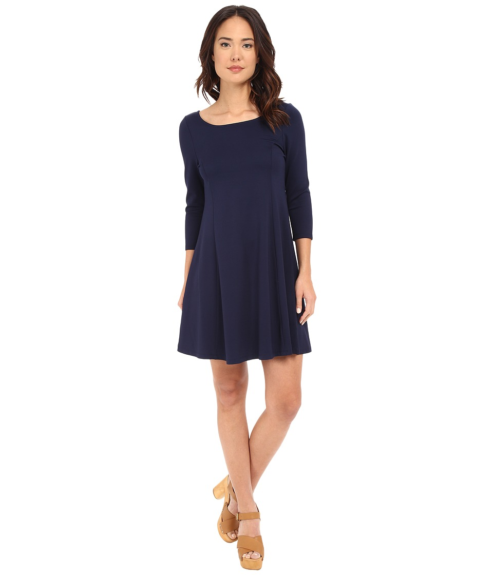 BB Dakota Gracie V-Back Ponte Dress (Navy) Women