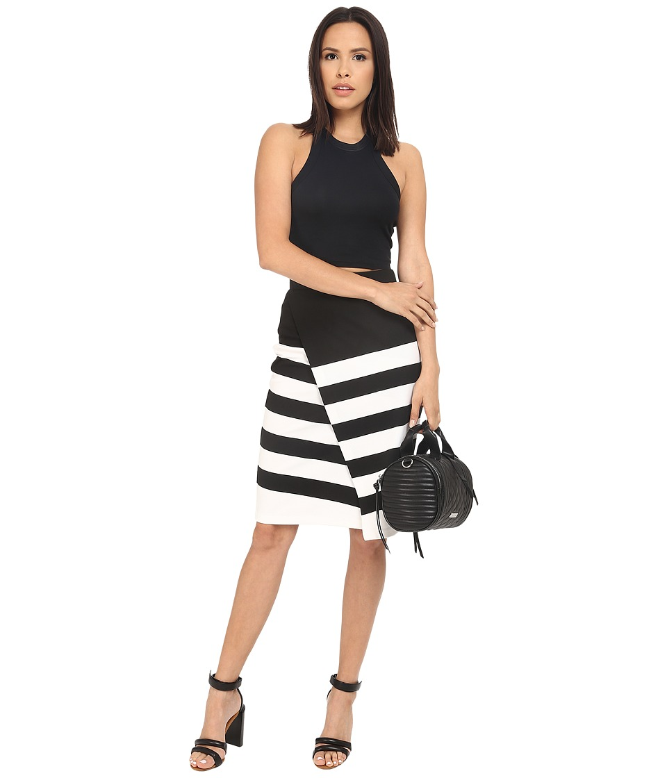 BB Dakota - Portia Striped Ponte Faux Wrap Skirt (Black) Women's Skirt