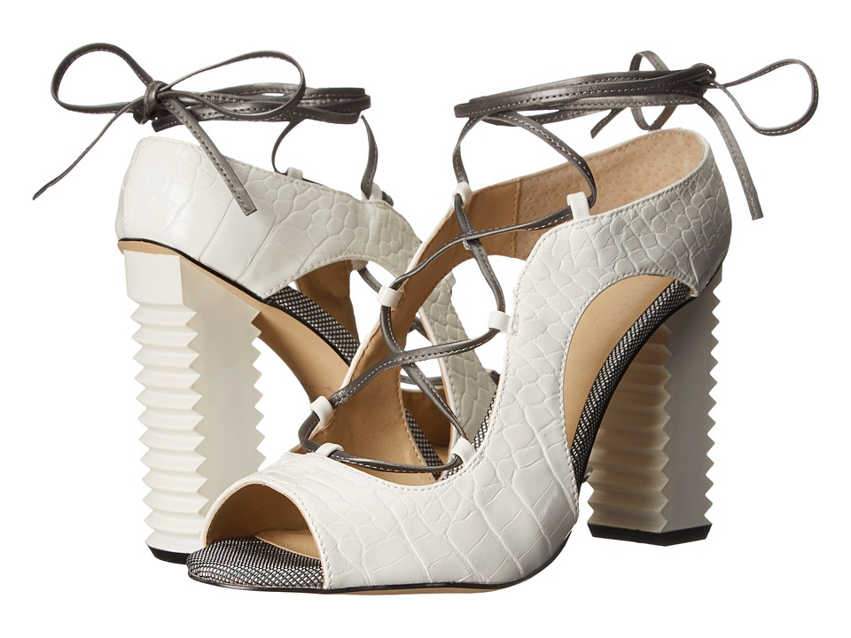 GX By Gwen Stefani - Malibu (White/Pewter Croco Print/Patent) High Heels