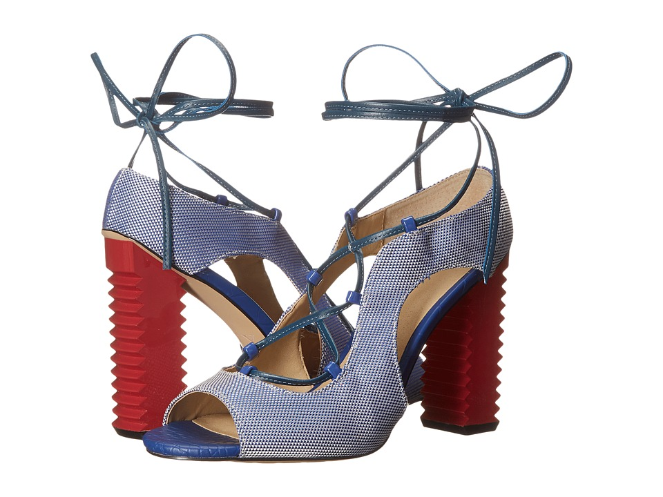 GX By Gwen Stefani Malibu Blue-White Ballistic-Patent-Matte High Heels