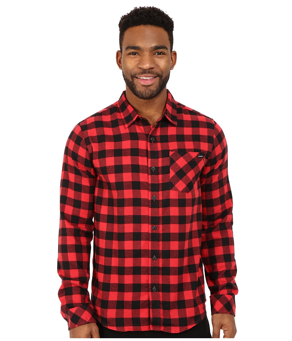 O'Neill - Cooker Long Sleeve Wovens (Red) Men's Long Sleeve Button Up