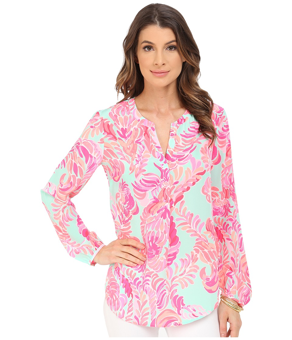 Lilly Pulitzer - Stacey Top (Poolside Blue Love Birds) Women's Clothing