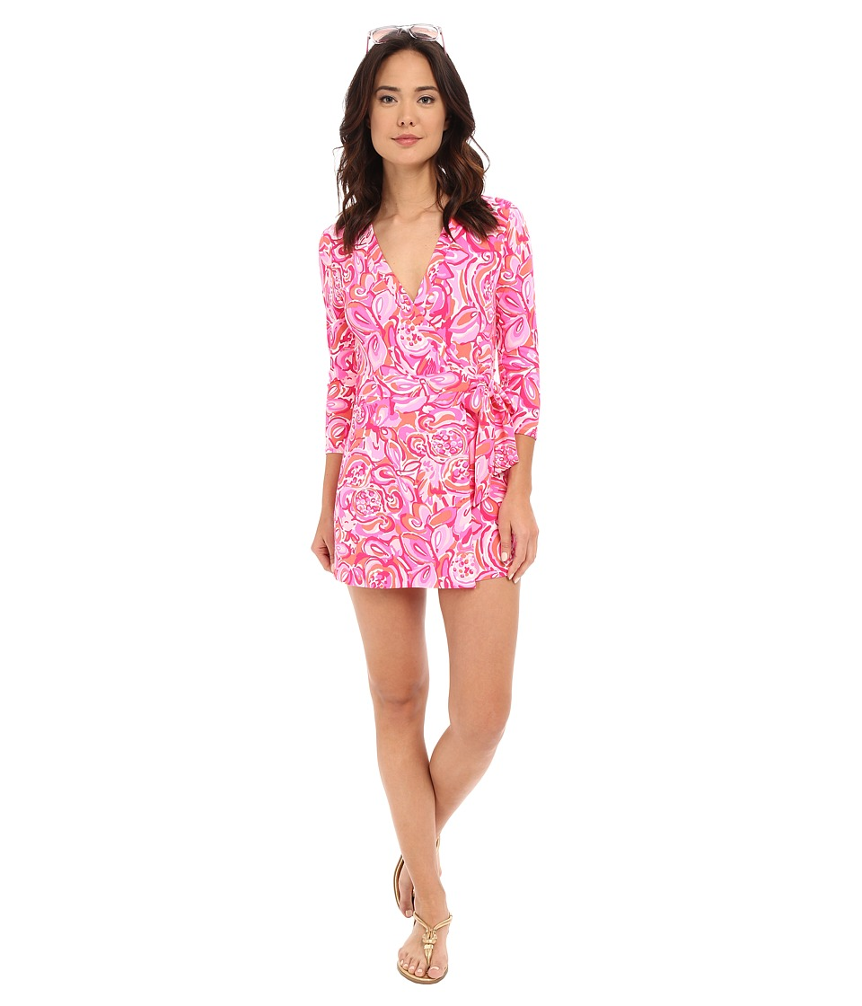 Lilly Pulitzer - Karlie Wrap Romper (Pink Pout Mango Salsa) Women's Jumpsuit & Rompers One Piece