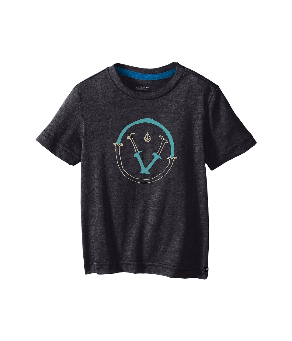 Volcom Kids - Vee Short Sleeve Shirt (Toddler/Little Kids) (Heather Black) Boy's T Shirt