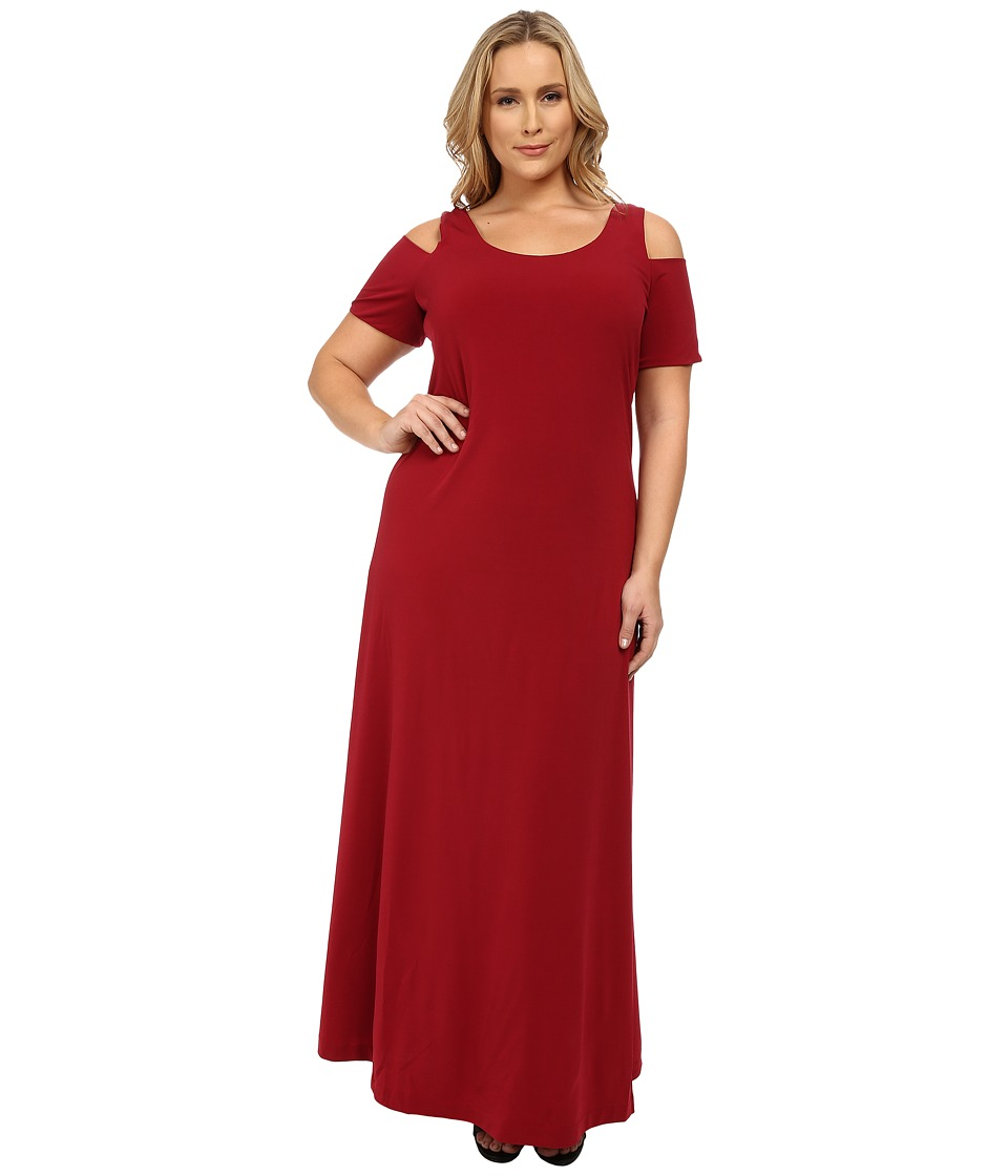 Mynt 1792 - Plus Size Maxi Cold Shoulder Dress (Tibetan Red) Women