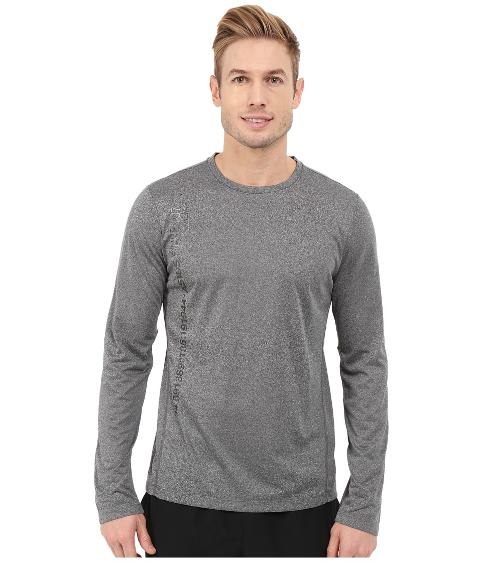 ASICS - Long Sleeve Graphic Top (Dark Grey Heather) Men's Workout