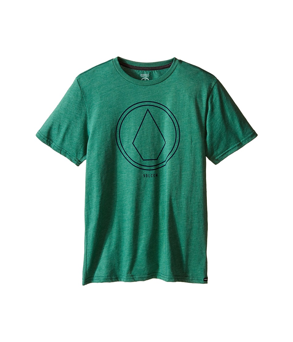 Volcom Kids - Pin Line Stone Short Sleeve Shirt (Big Kids) (Bottle Green Heather) Boy's T Shirt