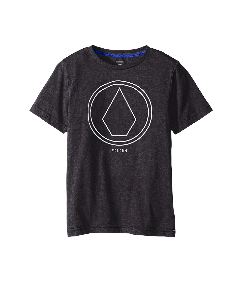 Volcom Kids - Pin Line Stone Short Sleeve Shirt (Big Kids) (Heather Black) Boy's T Shirt