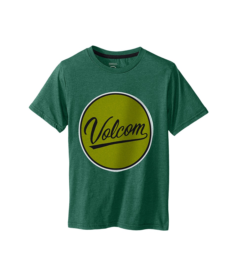 Volcom Kids - Germ Script Short Sleeve Shirt (Big Kids) (Bottle Green Heather) Boy's T Shirt