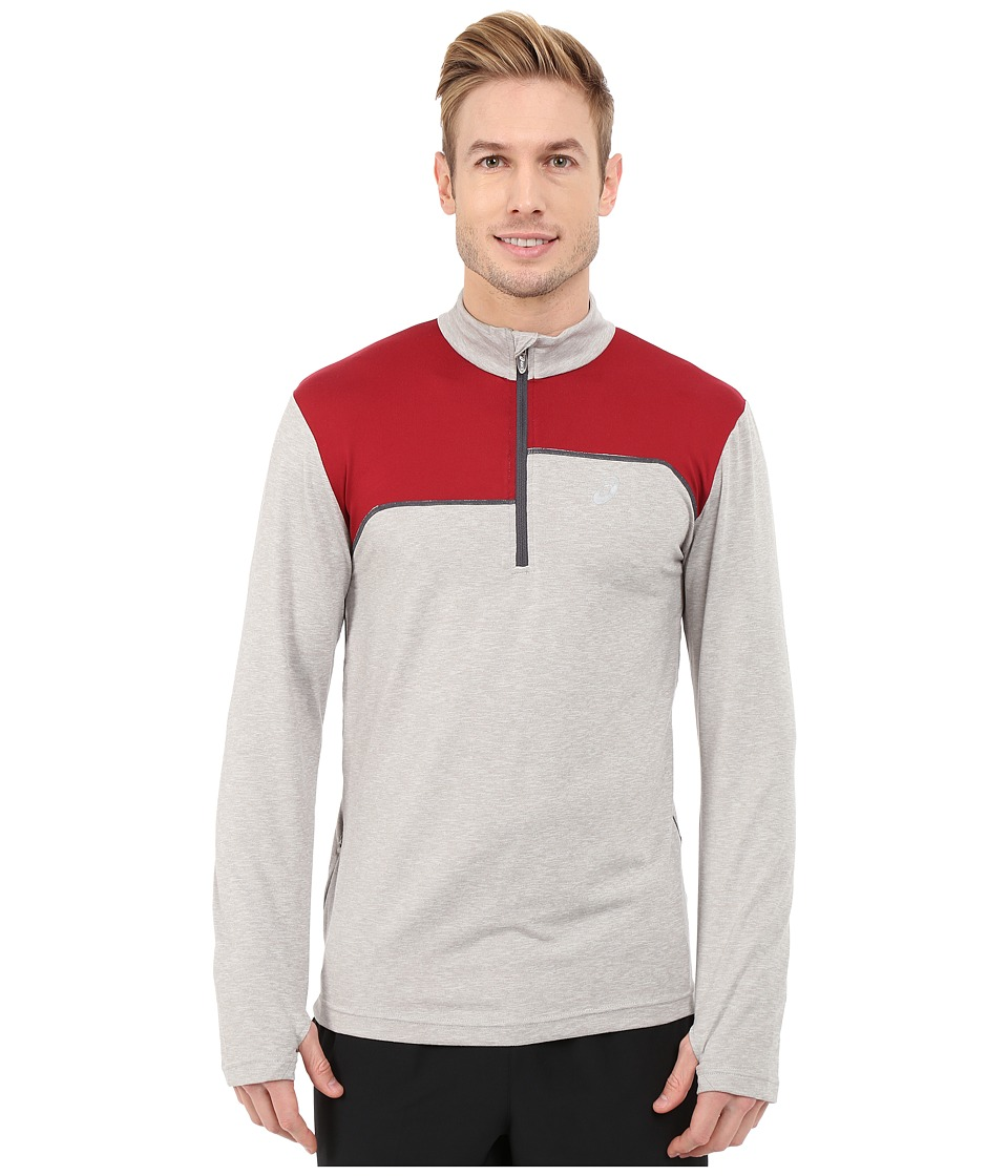 ASICS - Thermopolis 1/2 Zip (Light Grey Heather/Deep Ruby) Men's Workout