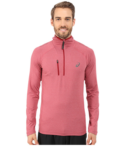 ASICS - FujiTrail 1/2 Hoodie (Deep Ruby Heather) Men's Sweatshirt