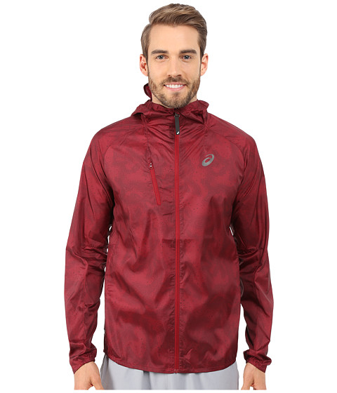 ASICS - FujiTrail Pack Jacket (Deep Ruby Map) Men's Coat