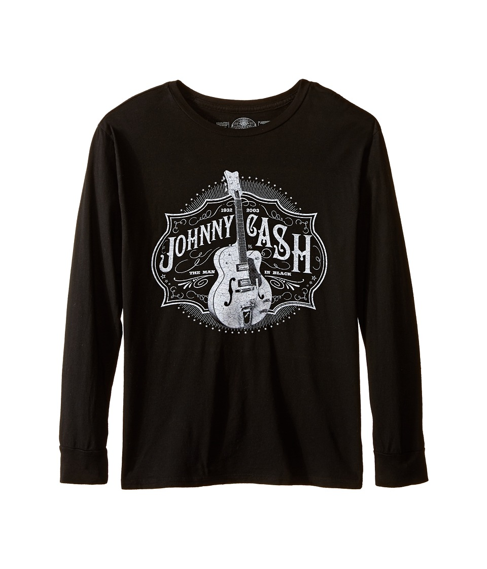 The Original Retro Brand Kids - Johnny Cash Long Sleeve Shirt (Big Kids) (Black) Boy's T Shirt