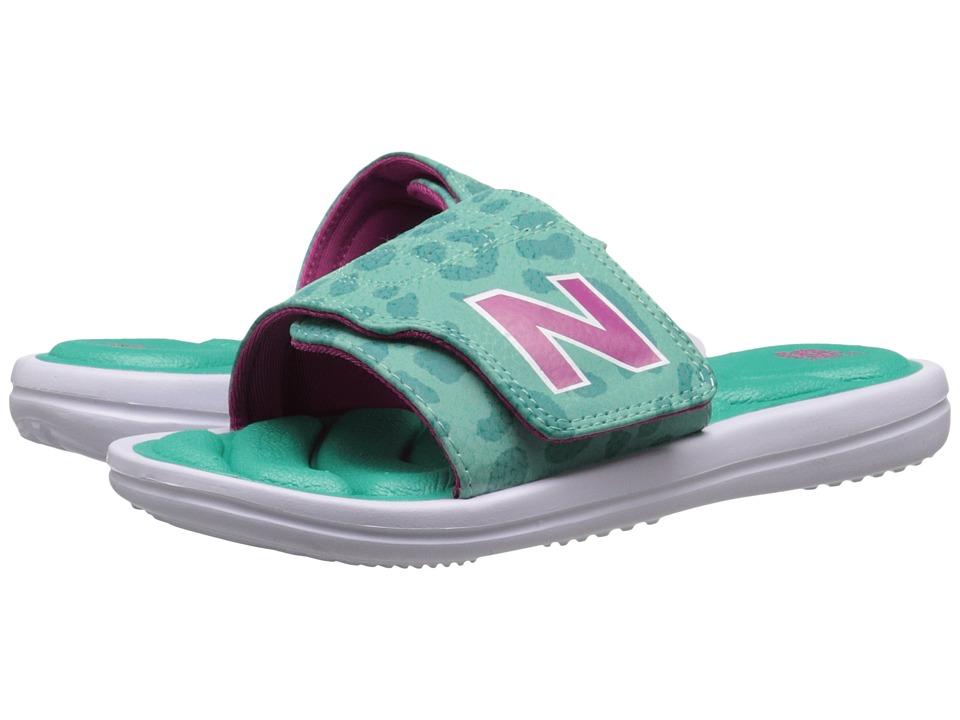 New Balance Kids - Classic WP Slide (Little Kid/Big Kid) (White/Green) Girls Shoes