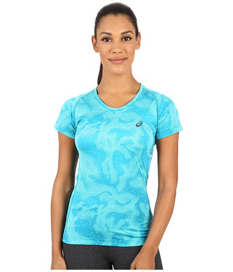 ASICS - FujiTrail Graphic Short Sleeve (Aqua Mint Map) Women