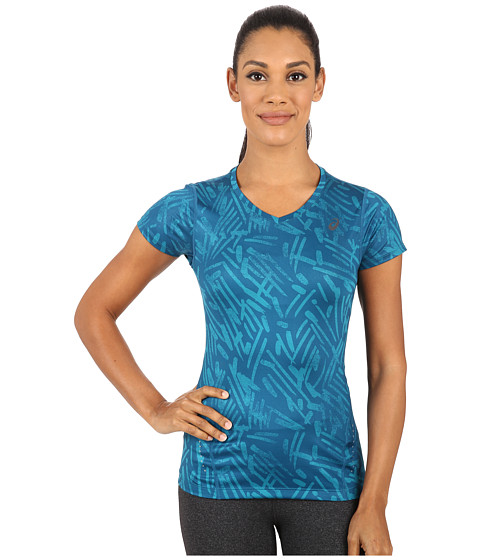 ASICS - All Over Graphic Short Sleeve (Mosaic Blue Palm) Women's T Shirt