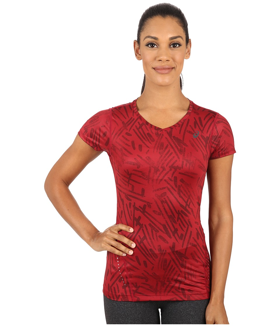 ASICS - All Over Graphic Short Sleeve (Deep Ruby Palm) Women