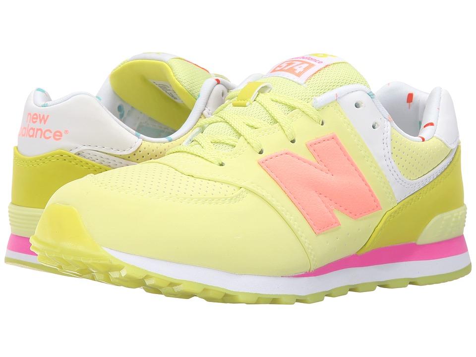 New Balance Kids - State Fair 574 (Big Kid) (Yellow/Pink) Girls Shoes