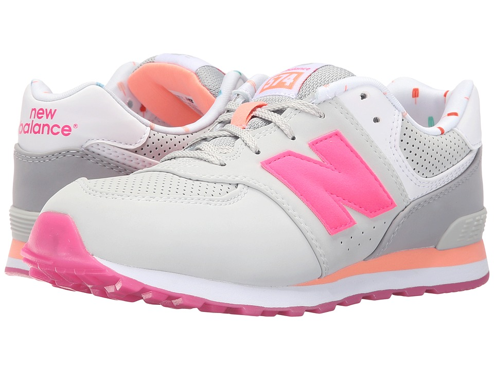New Balance Kids - State Fair 574 (Big Kid) (Grey/Pink) Girls Shoes