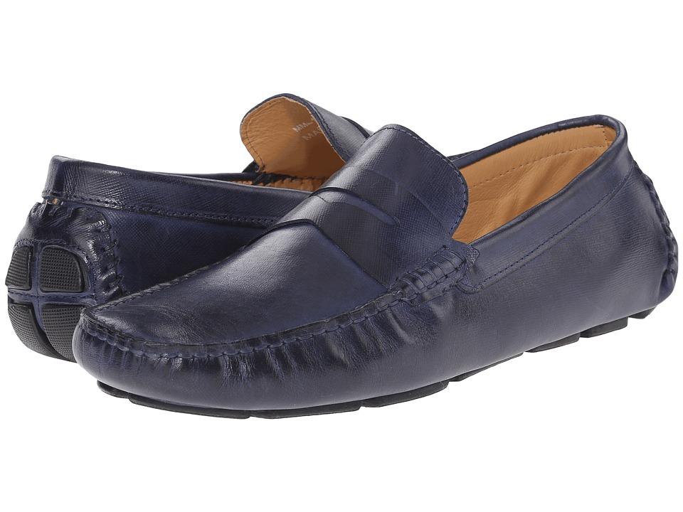 Massimo Matteo - Saffiano Penny Moc (Navy) Men's Lace Up Moc Toe Shoes