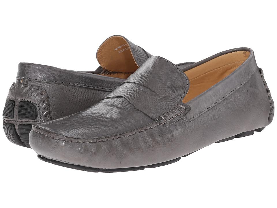 Massimo Matteo - Saffiano Penny Moc (Gray) Men's Lace Up Moc Toe Shoes