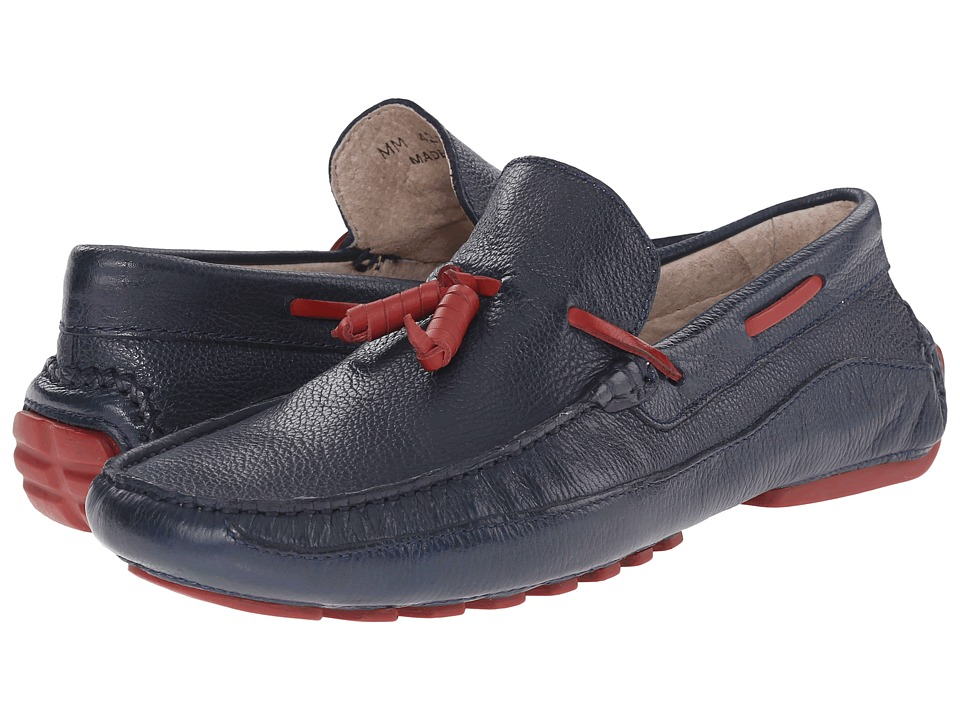 Massimo Matteo - Lace Tassel Moc (Navy) Men's Moccasin Shoes