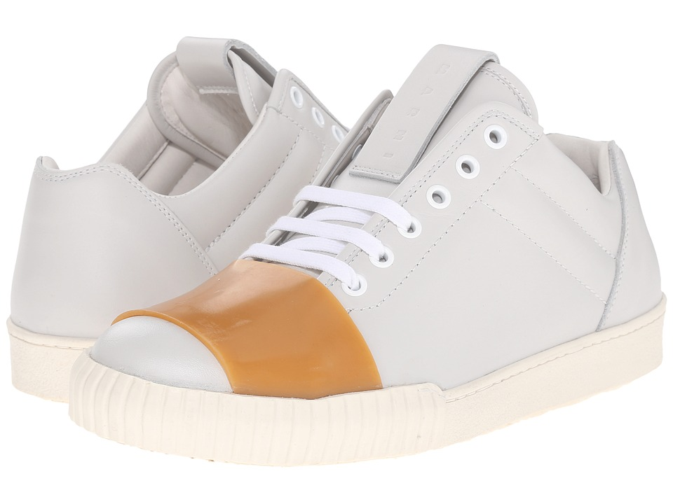 MARNI - Low Top Leather Sneaker (White) Men's Shoes