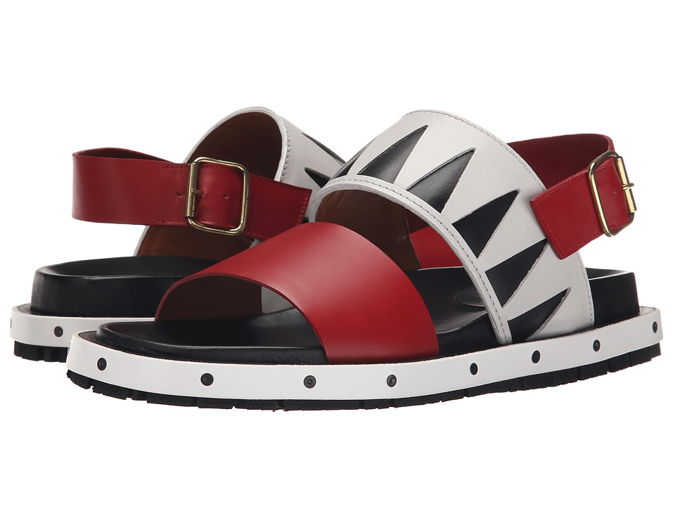 MARNI Geometric Calf Leather Sandal (White) Men