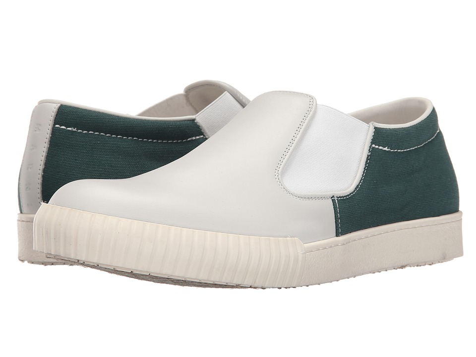 MARNI - Canvas/Leather Slip-On Sneaker (White/Green) Men's Shoes
