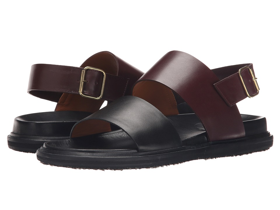 MARNI - Calf Leather Sandal (Bordeaux) Men's Sandals