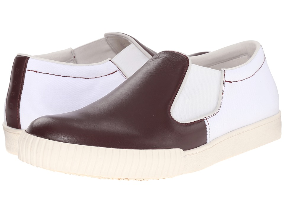 MARNI - Canvas/Leather Slip-On Sneaker (Bordeaux/White) Men's Shoes