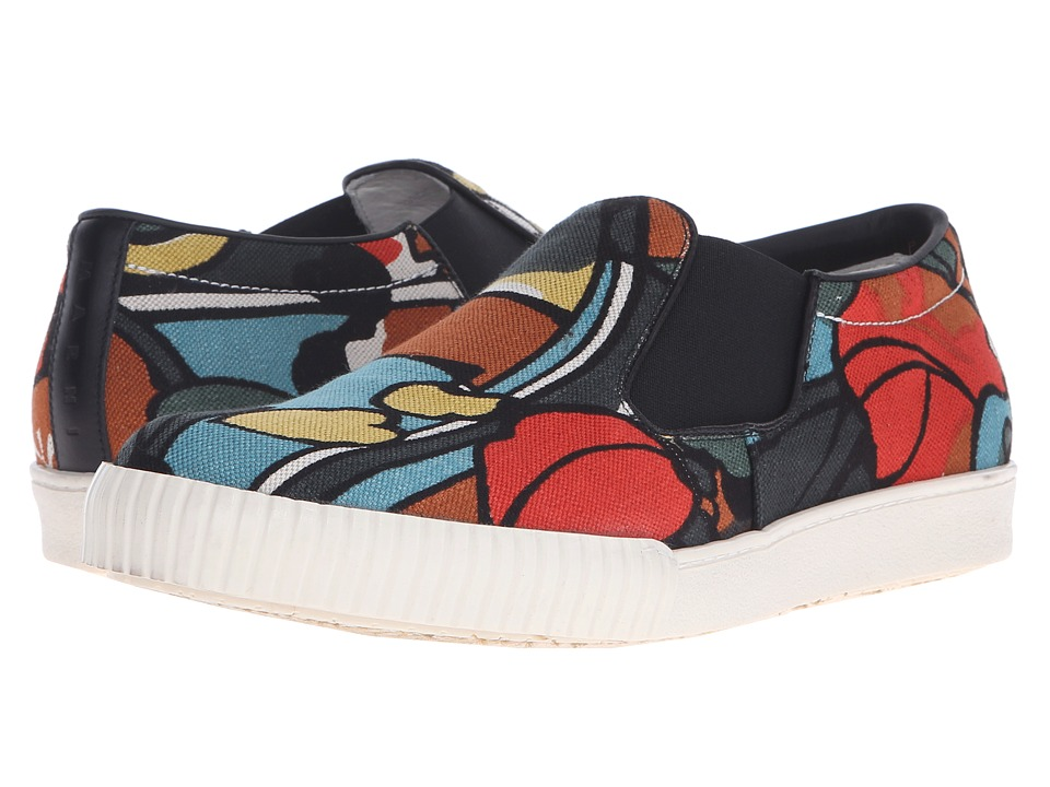 MARNI - Printed Canvas Slip-On Sneaker (Psychedelic Print) Men's Shoes
