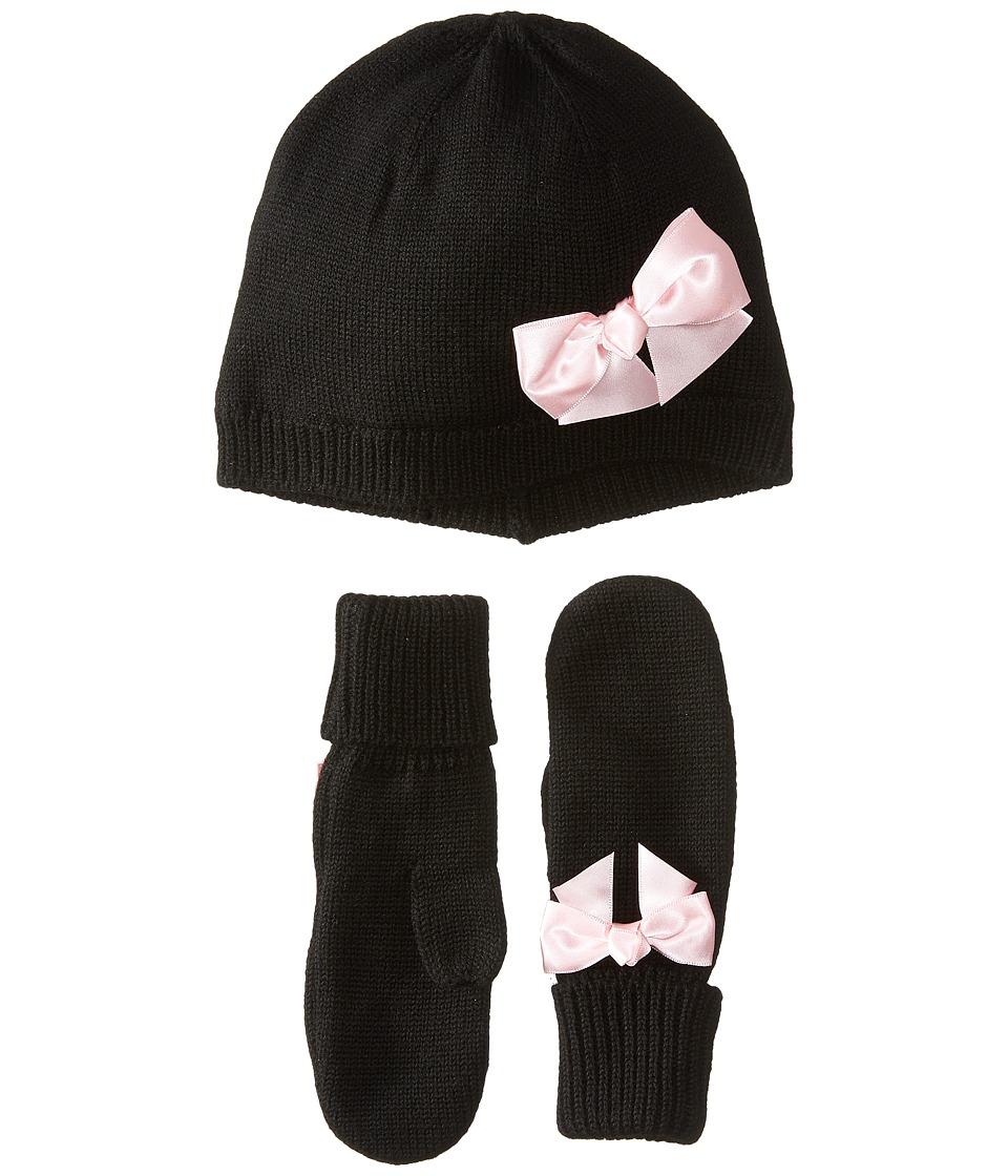 Kate Spade New York Kids - Bow Hat Mitten Set (Black) Caps