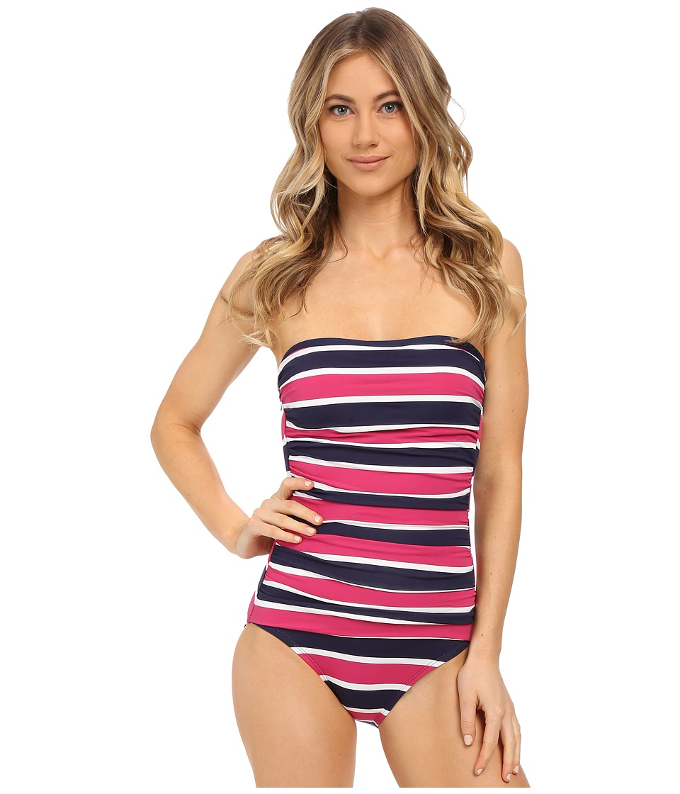 Tommy Bahama - Nautical Shirred Bandeau One-Piece (Mare Navy) Women's Swimsuits One Piece