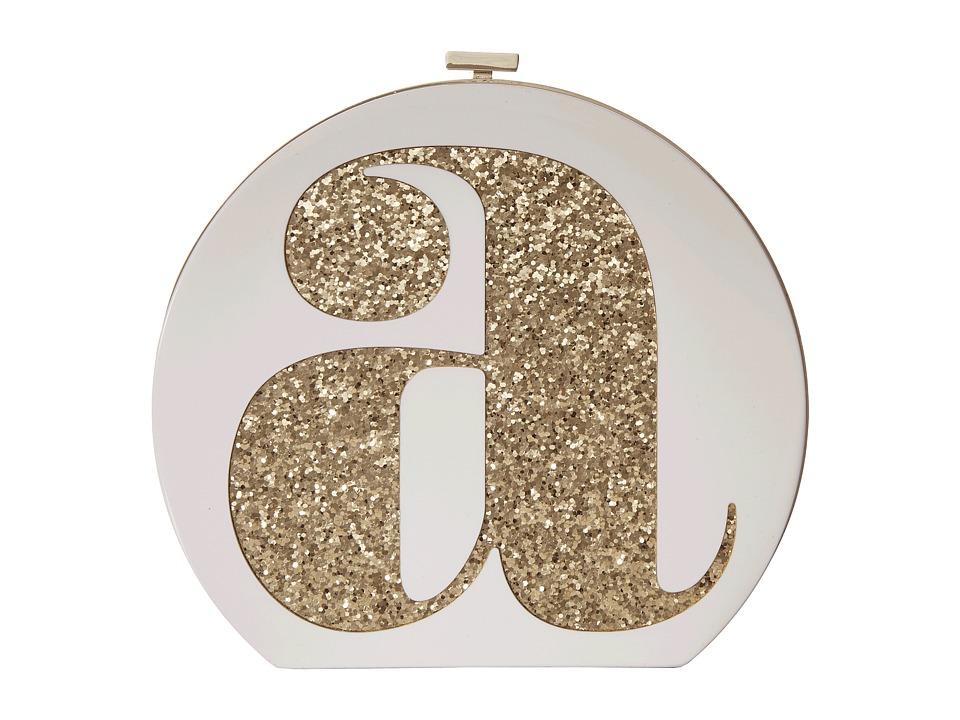 Kate Spade New York - Evening Belles Initial Clutch-A (Cream/Gold) Clutch Handbags