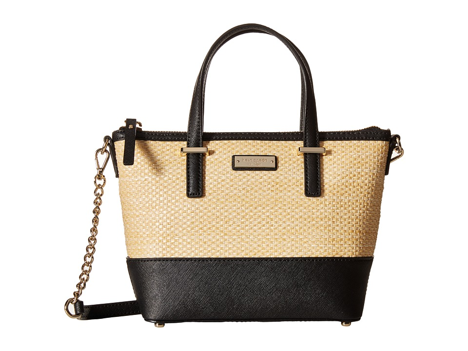 Kate Spade New York - Cedar Street Straw Harmony Crossbody (Natural/Black) Cross Body Handbags