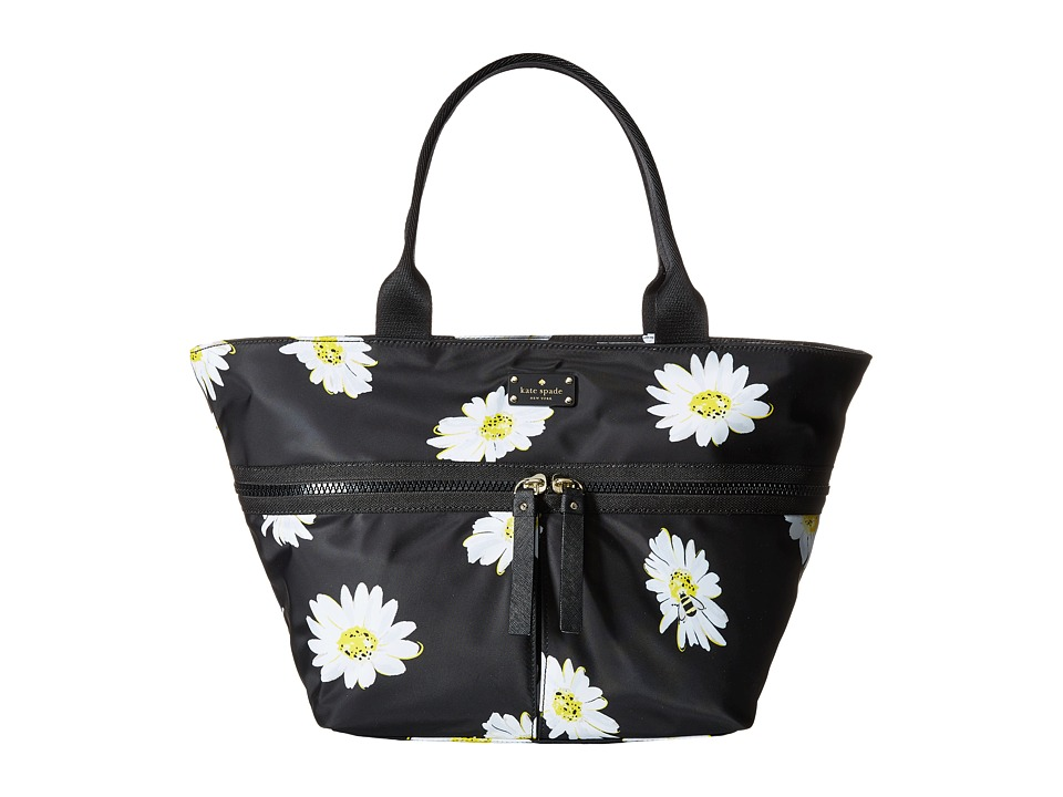 Kate Spade New York - Clark Court Nylon Arabella (Black Falling Daisies) Tote Handbags