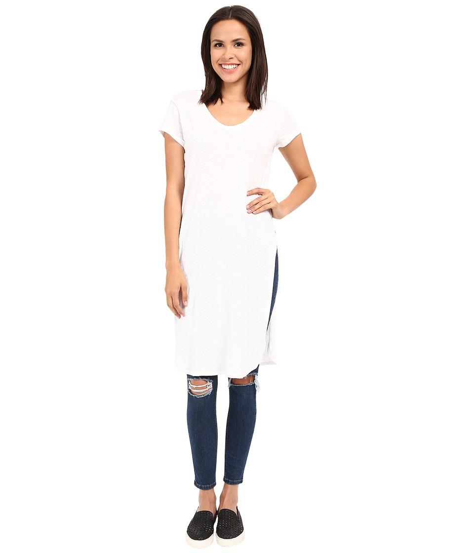 Alternative - Washed Slub Boyle Heights Tunic (White) Women's Short Sleeve Pullover